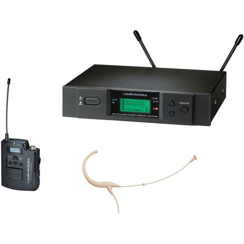 Audio-Technica ATW-3194b - 3000 Series Headworn UHF Wireless Microphone System (Band C, Beige)
