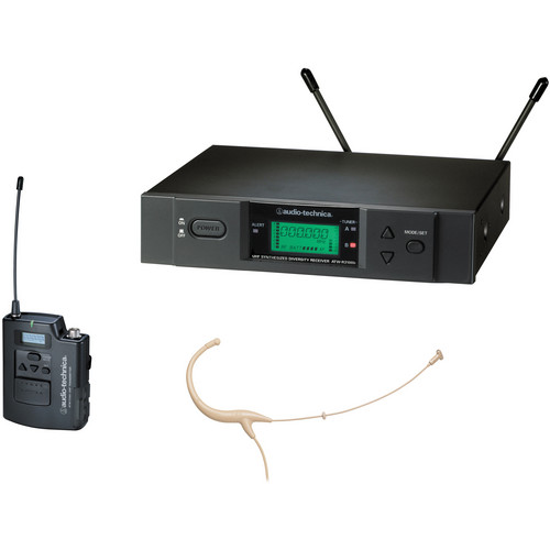 Audio-Technica ATW-3194b - 3000 Series Headworn UHF Wireless Microphone System (Band I, Beige)
