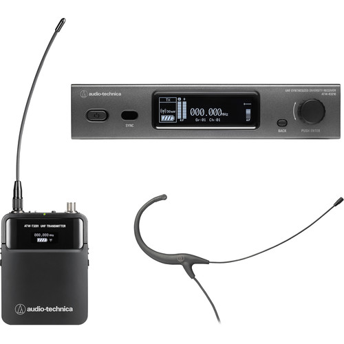 Audio-Technica ATW-3211/892EE1 3000 Series Fourth Generation Wireless Microphone System with BP892cH Headworn Mic (EE1: 530.000 to 589.975 MHz, Black)