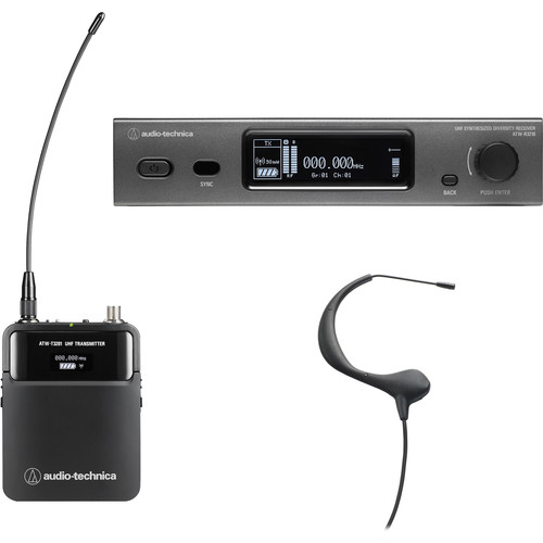Audio-Technica ATW-3211/893EE1 3000 Series Fourth Generation Wireless Microphone System with BP893cH Headworn Mic (EE1: 530.000 to 589.975 MHz, Black)