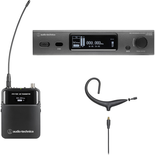 Audio-Technica ATW-3211/893x 3000 Series Wireless Omni MicroEarset Microphone System (Black, EE1: 530 to 590 MHz)