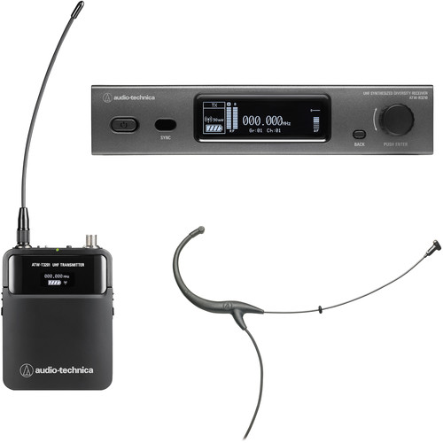 Audio-Technica ATW-3211/894EE1 3000 Series Fourth Generation Wireless Microphone System with BP894cH Headworn Mic (EE1: 530.000 to 589.975 MHz, Black)