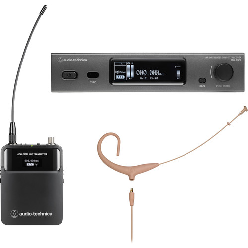 Audio-Technica ATW-3211/894XTHDE2 3000 Series Fourth Generation Wireless Microphone System with BP894xcH-TH Headworn Mic (DE2: 470.125 to 529.975 MHz, Beige)