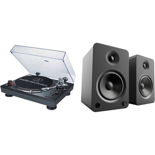 Audio-Technica Consumer AT-LP120USB Direct Drive Professional DJ Turntable and Powered Speakers Kit (Black)