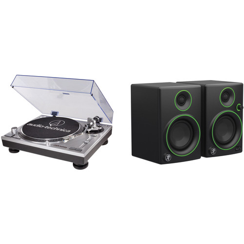 Audio-Technica Consumer AT-LP120USB Professional DJ Turntable Kit with a Pair of Reference Monitors