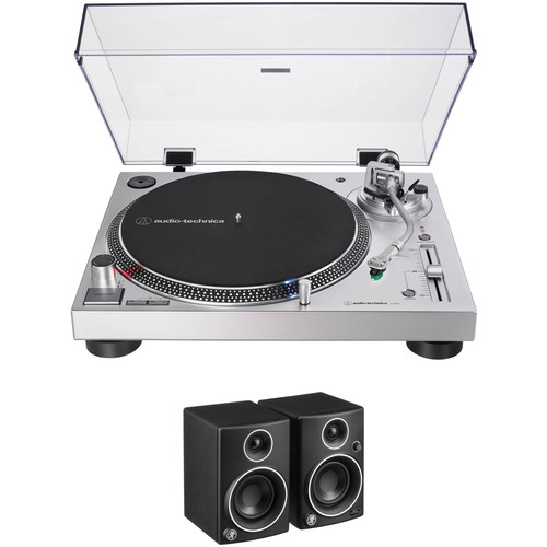 Audio-Technica Consumer AT-LP120XUSB Stereo Turntable Kit with 2x Mackie CR3 Speakers (Silver)