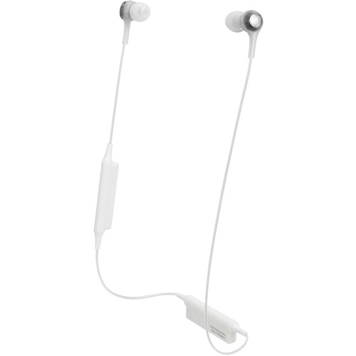 Audio-Technica Consumer ATH-CK200BT Wireless In-Ear Headphones with In-Line Mic (White)