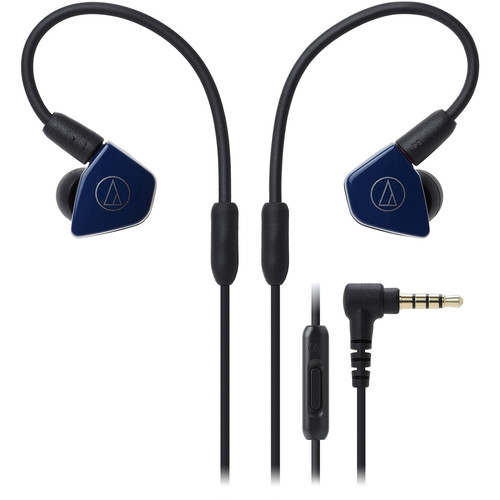 Audio-Technica Consumer ATH-LS50iSNV In-Ear Headphones with In-Line Mic and Control (Navy Blue)
