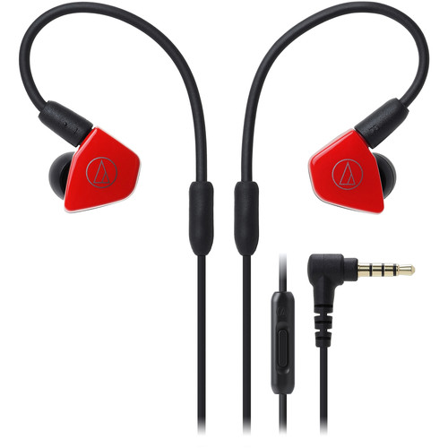 Audio-Technica Consumer ATH-LS50iSRD In-Ear Headphones with In-Line Mic and Control (Red)