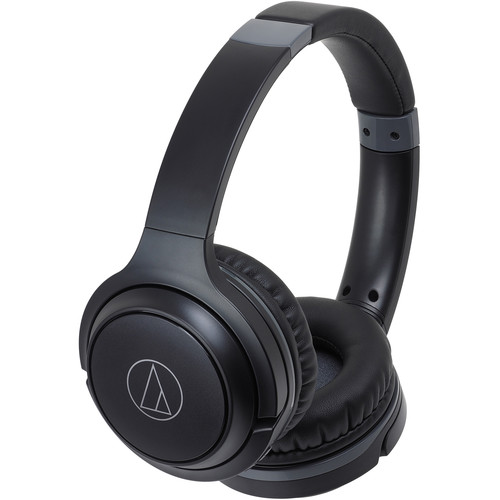 Audio-Technica Consumer ATH-S200BT Wireless On-Ear Headphones with Built-In Mic (Black)