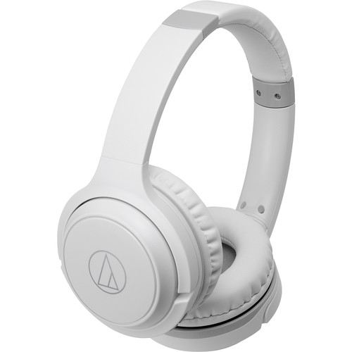 Audio-Technica Consumer ATH-S200BT Wireless On-Ear Headphones with Built-In Mic (White)
