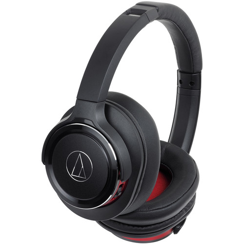 Audio-Technica Consumer ATH-WS660BT Solid Bass Wireless Over-Ear Headphones (Black/Red)