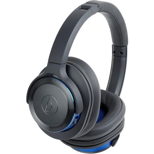 Audio-Technica Consumer ATH-WS660BT Solid Bass Wireless Over-Ear Headphones (Gunmetal/Blue)