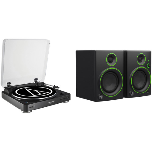 Audio-Technica Consumer AT-LP60BK-BT Turntable and Powered Speakers Kit