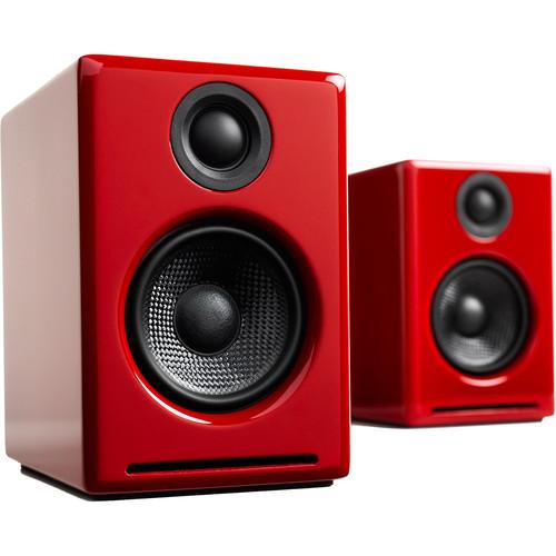 Audioengine A2+ Wireless Bluetooth Speaker System (Hi-Gloss Red, Pair)