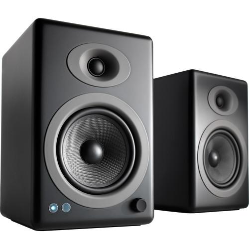 Audioengine A5+ Wireless 2-Way Active Bluetooth Bookshelf Speakers (Satin Black, Pair)