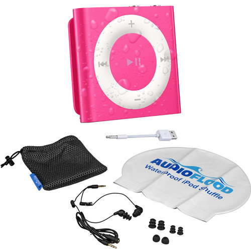 AUDIOFLOOD 2GB Waterproof iPod Bundle (Bright Pink)