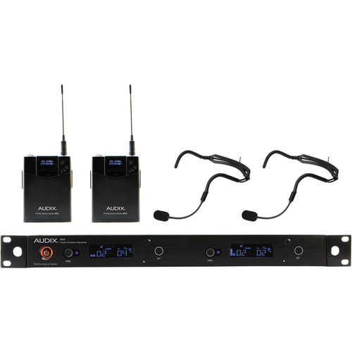 Audix AP42 Performance Series Dual-Channel Bodypack Wireless System with Two HT2 Supercardioid Headworn Microphones (522 to 554 MHz)