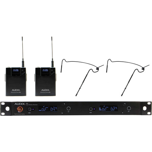 Audix AP42 Performance Series Dual-Channel Bodypack Wireless System with Two HT5 Omnidirectional Headworn Microphones (Black, 522 to 554 MHz)