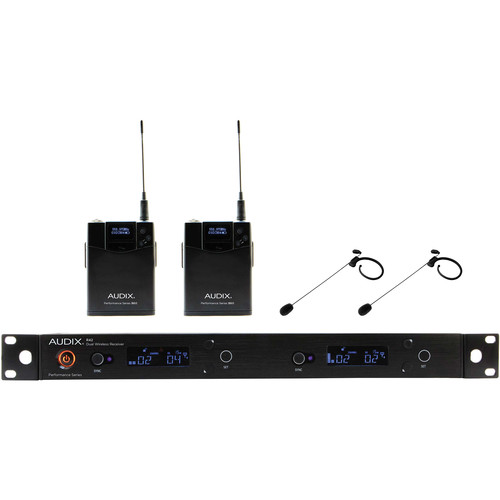 Audix AP42 Performance Series Dual-Channel Bodypack Wireless System with Two HT7 Single-Ear Condenser Microphones (Black, 554 to 586 MHz)