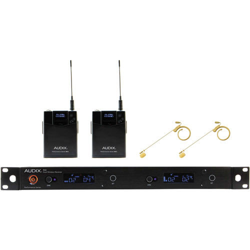 Audix AP42 Performance Series Dual-Channel Bodypack Wireless System with Two HT7 Single-Ear Condenser Microphones (Beige, 554 to 586 MHz)