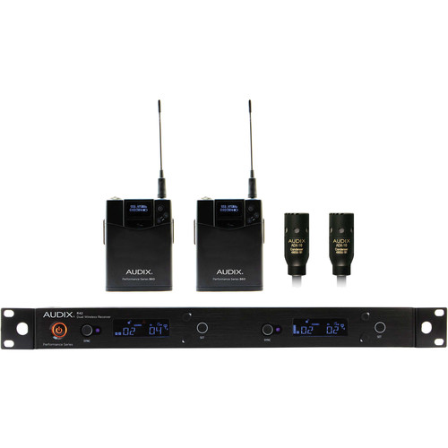 Audix AP42 Performance Series Dual-Channel Bodypack Wireless System with Two ADX10 Lavalier Condenser Microphones (554 to 586 MHz)