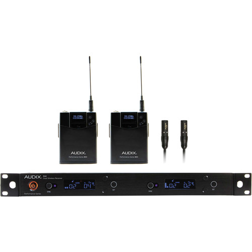 Audix AP42 Performance Series Dual-Channel Bodypack Wireless System with Two L5 Micro Cardioid Lavalier Microphones (554 to 586 MHz)