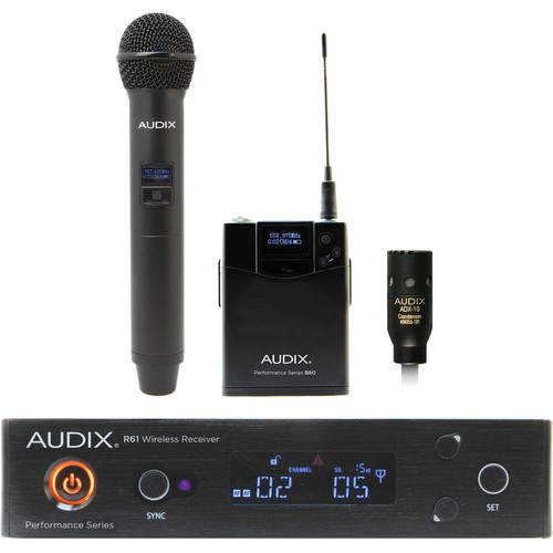 Audix AP61 OM2 L10 Single-Channel True Diversity Receiver with B60 Bodypack Transmitter, ADX10 Lavalier Microphone, and H60 OM2 Handheld Microphone Transmitter (522 to 586 MHz)