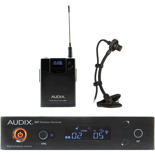 Audix AP61 SAX R61 Single-Channel True Diversity Receiver with Bodypack Transmitter ADX20i Clip-On Instrument Microphone (522 to 586 MHz)