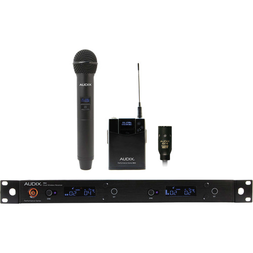 Audix AP62 C210 R62 Dual-Channel True Diversity Receiver with B60 Bodypack, ADX10 Lavalier Mic, and H60 OM2 Handheld Microphone Transmitter (522 to 586 MHz)
