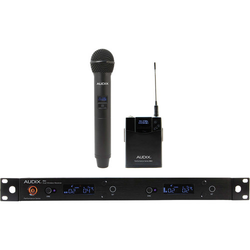 Audix AP62 C2BP R62 Dual-Channel True Diversity Receiver with B60 Bodypack and H60 OM2 Handheld Microphone Transmitter (522 to 586 MHz)