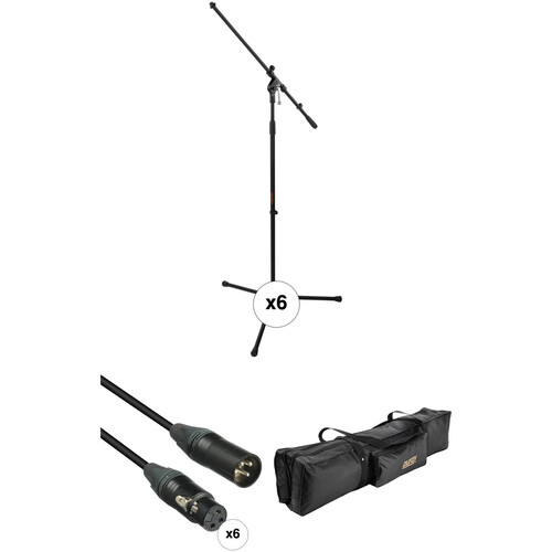 Auray Six Mic Stands and Cables Kit with Carrying Bag