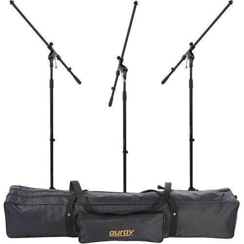 Auray Three Mic Stands and Cables Kit with Stand Bag