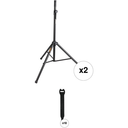 Auray PA Speaker Stands and Touch Fastener Straps Kit (Pair)