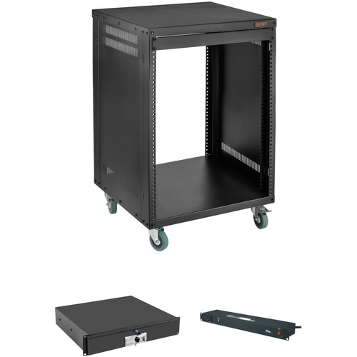 Auray ERS-12U Equipment Rack with Drawer and Power Conditioner Kit (12 RU)