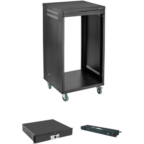 Auray ERS-16U Equipment Rack with Drawer and Power Conditioner Kit (16 RU)