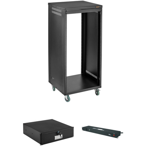 Auray ERS-22U Equipment Rack with Drawer and Power Conditioner Kit (22 RU)