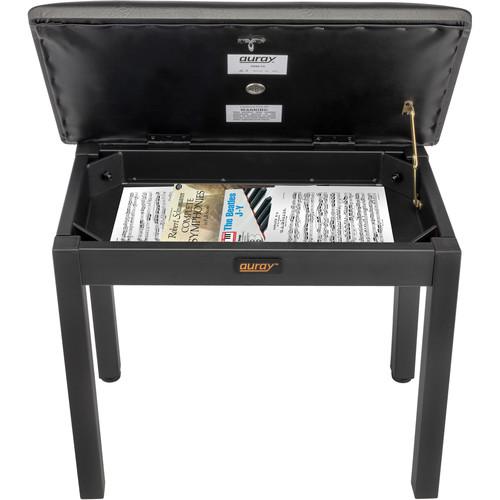 Auray PBM-FS Metal Frame Piano Bench with Storage (Black)