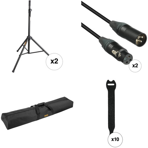 Auray Speaker Stand Accessory Kit with Cables, Bag, and Fasteners (Pair)