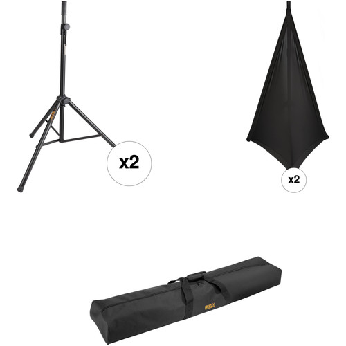 Auray SS-4420 Dual Speaker Stand Kit with Scrims and Bag (Black)