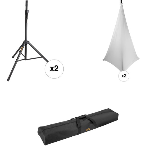 Auray SS-4420 Dual Speaker Stand Kit with Scrims and Bag (White)