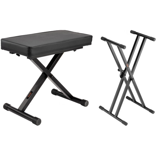 Auray X-Style Piano Bench & Double X-Style Adjustable Keyboard Stand Kit