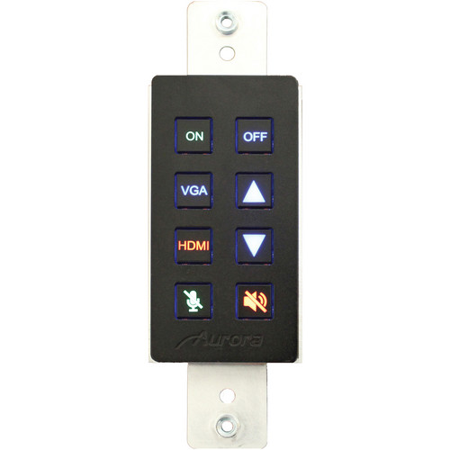 Aurora Multimedia DXB-8 1-Gang 8-Button Wall Plate Controller (Black)