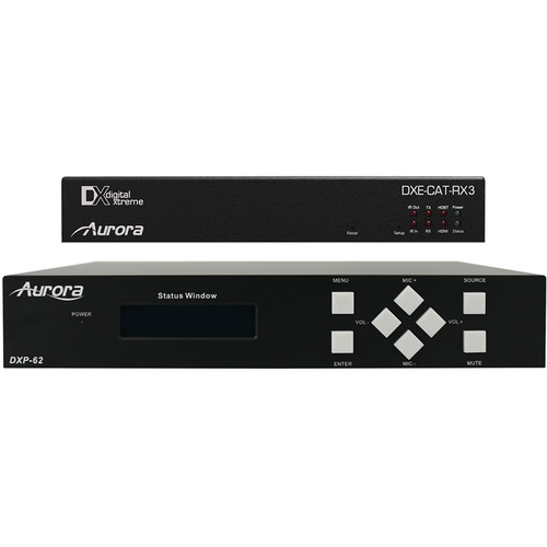 Aurora Multimedia DXP-62K-3 Scaler/Switcher and HDBaseT Receiver with Relays & Amp Kit
