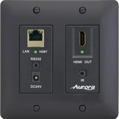 Aurora Multimedia DXW-2E-RX2 HDBaseT Wall Plate Receiver (Black)