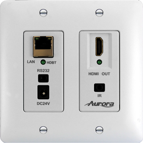 Aurora Multimedia DXW-2E-RX2 HDBaseT Wall Plate Receiver (White)
