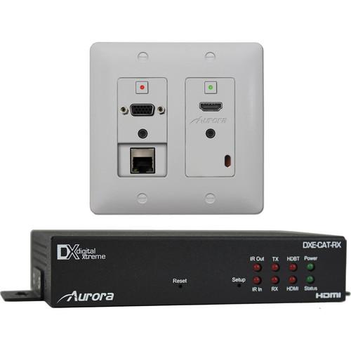 Aurora Multimedia DXW-2E-S2-BK HDBaseT Wall Plate Kit for AV (Black Wall Plate)