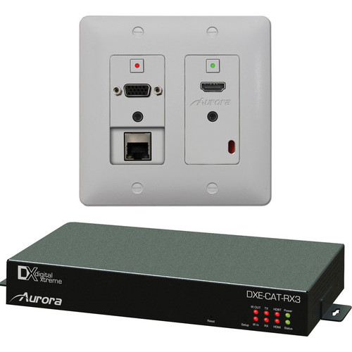 Aurora Multimedia DXW-2E-S3-A-B/W HDBaseT Wall Plate Kit for AV