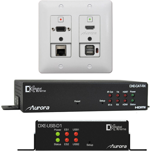 Aurora Multimedia 2 Input HDBaseT Wall Plate Bundle (White)