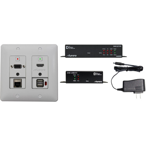 Aurora Multimedia HDBaseT Extender Wall Plate Kit with Receiver, USB Host, & Power Supply (White)